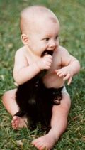 Baby and kitten