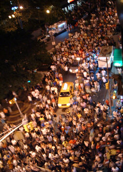 Crowd in street