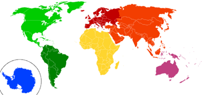 Continents by colour