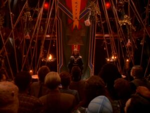Quark's decorated for Worf and Jadzia's wedding - You Are Cordially Invited