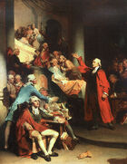 Upper-class middle-aged man dressed in a bright red cloak speaks before an assembly of other angry men. The subject&#39;s right hand is raise high in gesture toward the balcony.
