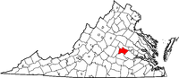 Map of Virginia highlighting Powhatan County