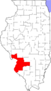 Map of Illinois highlighting Metro-East