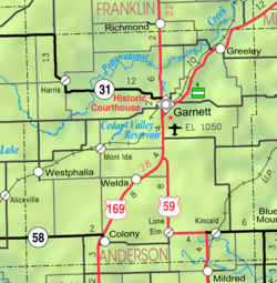 Map of Anderson Co, Ks, USA