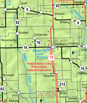 Map of Jackson Co, Ks, USA