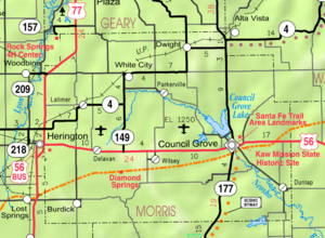 Map of Morris Co, Ks, USA