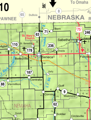 Map of Nemaha Co, Ks, USA