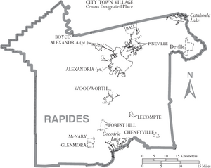 Map of Rapides Parish Louisiana With Municipal Labels
