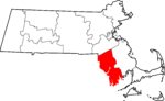 State map highlighting Bristol County