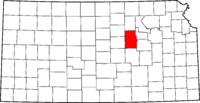 Map of Kansas highlighting Dickinson County