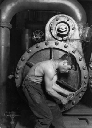Lewis Hine Power house mechanic working on steam pump small