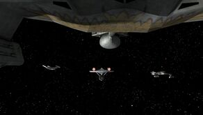 Romulans surround the Enterprise, TEI remastered