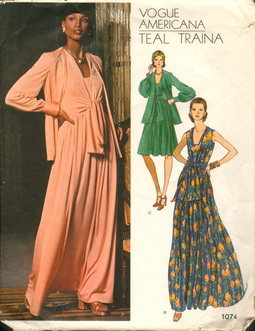 1970s Teal Traina pattern featuring Beverly Johnson, Vogue 1074
