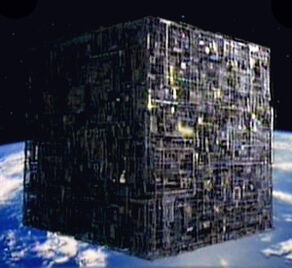 Borg cube orbits Earth