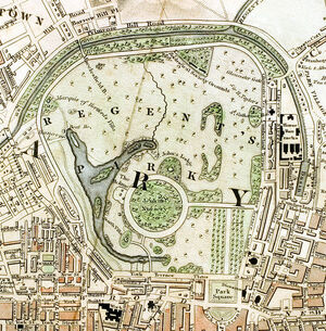 Regent&#39;s Park London from 1833 Schmollinger map