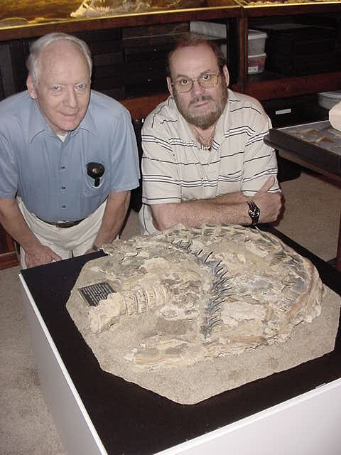 Gordon Hubbell (left) and Glenn Reed (right) with the Sacaco dentition. Photo credit: www.tellmewhereonearth.com (Sharks, page 15)