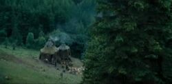 Hagrid&#39;s hut view from the stone circle
