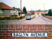Baglyn Avenue - two photos showing name plate and avenue