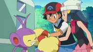 EP593 Ambipom despidiendose de Ash y Dawn-Maya