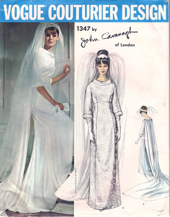 Vogue 1347 1960s wedding dress bridal gown pattern Watteau train Jean Shrimpton