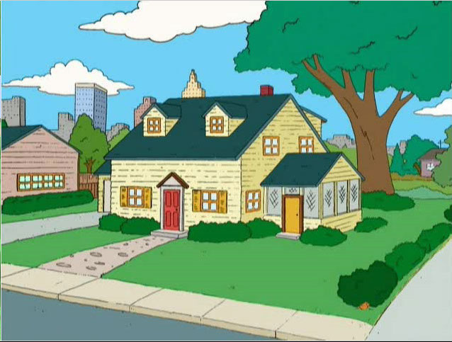 The Griffin home is a detached house, primarily colored yellow, with a ... Quagmire And Meg