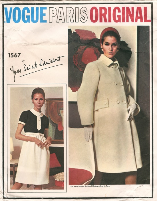 Vogue 1567 1960s Yves Saint Laurent dress and coat