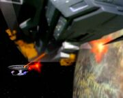 Delta Rana warship repels the Enterprise-D