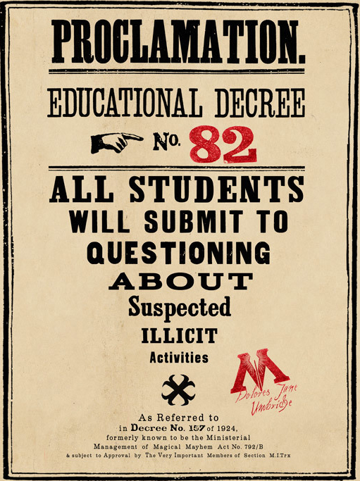 Educational Degree No. 82: All students will submit to questioning about suspected illicit activities