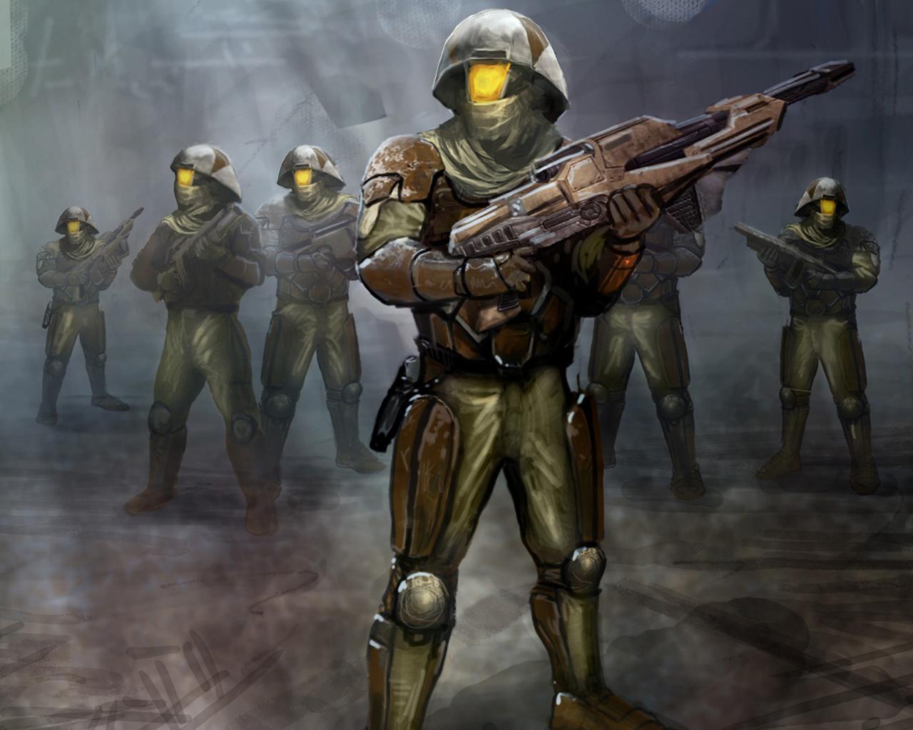 Alliance heavy troopers wearing rebel battle armor