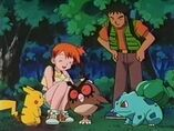 EP123 Brock Misty Hoothoot Pikachu y Bulbasaur