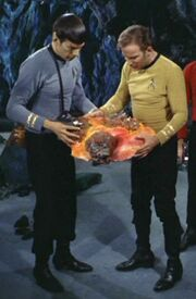 Spock and Kirk inspect Horta remains