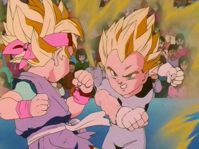 1Super Saiyan Goku Jr And Super Vegeta FightingAdded By Beadtmdc Their Fusion Form Gotenks Seen Late In Dragon Ball Z Easily Gained The