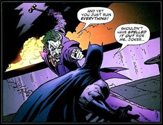 Batman in his first fight with the Joker