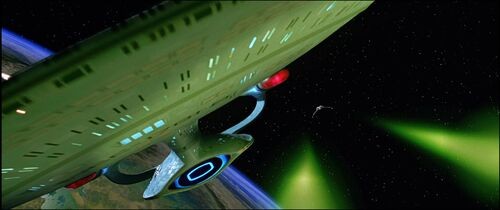 USS Enterprise-D evades the Duras sisters' Bird-of-Prey
