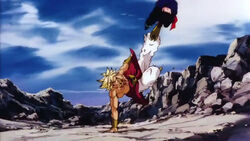 Broly kicks Gohan in the air at the start of the Bloody Smash rush