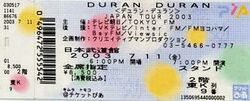 250 11 july 2003 duran ticket japan