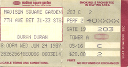 Duran duran ticket 24 june 87