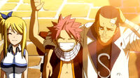 Natsu, Lucy and Macao return home