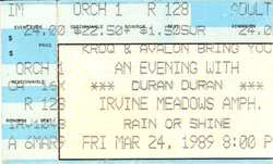 Duran Duran ticket stub 24 march 89