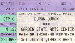 Duran duran ticket 31 july 93 a