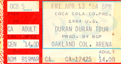 Duran ticket 13 april 84