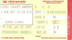 Duran ticket 23 june 87
