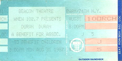 Duran ticket 31 aug 1987