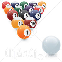 11215-An-8-Ball-Rack-Of-Numbered-Pool-Balls-And-The-Cue-Ball-Ready-To-Be-Broken-Clipart-Illustration