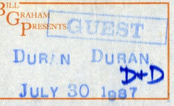 Ticket 30 july 1987 sacramento duran duran