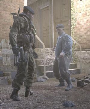 Old man confronted by enemy troops Hunted CoD4