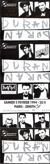 Ticket duran duran zenith 1994 200