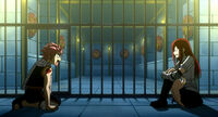 Natsu and real Erza in prison