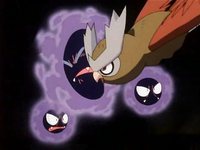 EP183 Noctowl golpeando a Gastly