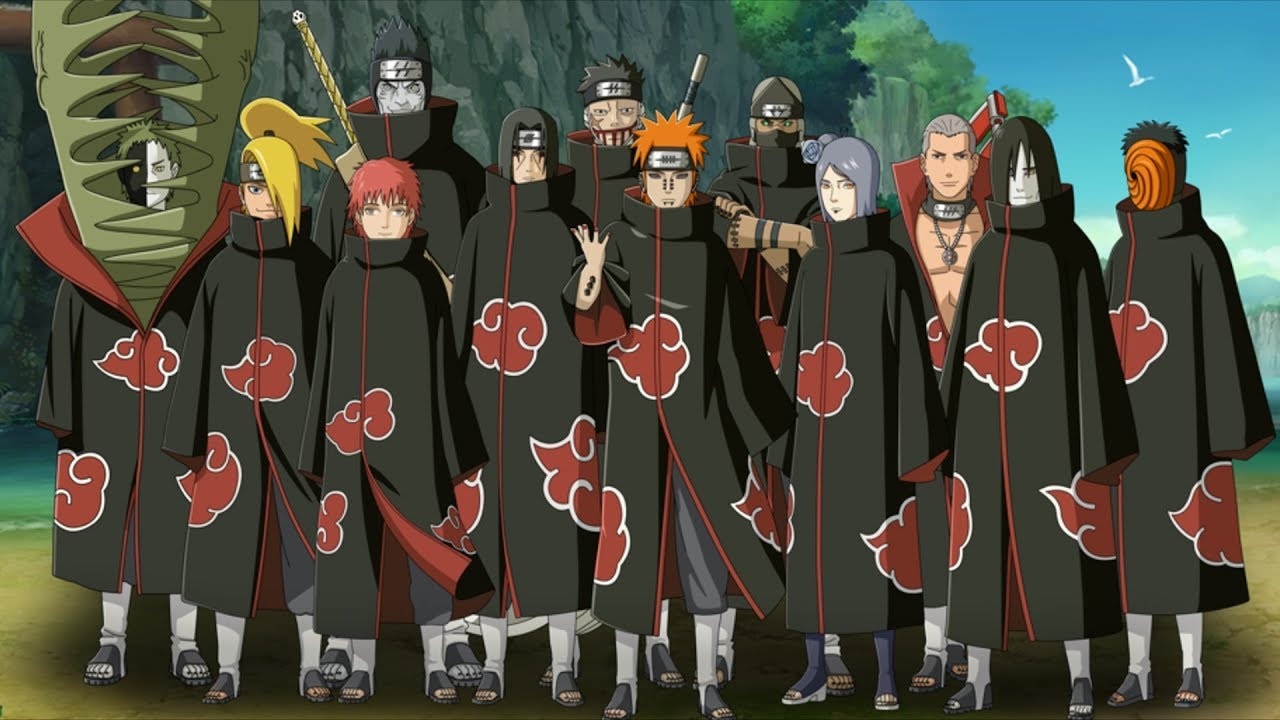 from left to right Kakuzu, Hidan, Kisame, Itachi, Pain (using Deva ...: villains.wikia.com/wiki/Akatsuki